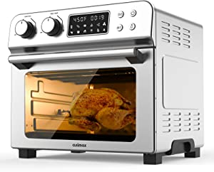 Air Fryer, 12-in-1 Air Fryer + Toaster Oven with 10 Cooking Presets, 23 Quart Capacity Ovens Countertop, Convection Roaster with Rotisserie & Dehydrator, Original Recipe and Accessories Included, Stainless Steel, 1700w