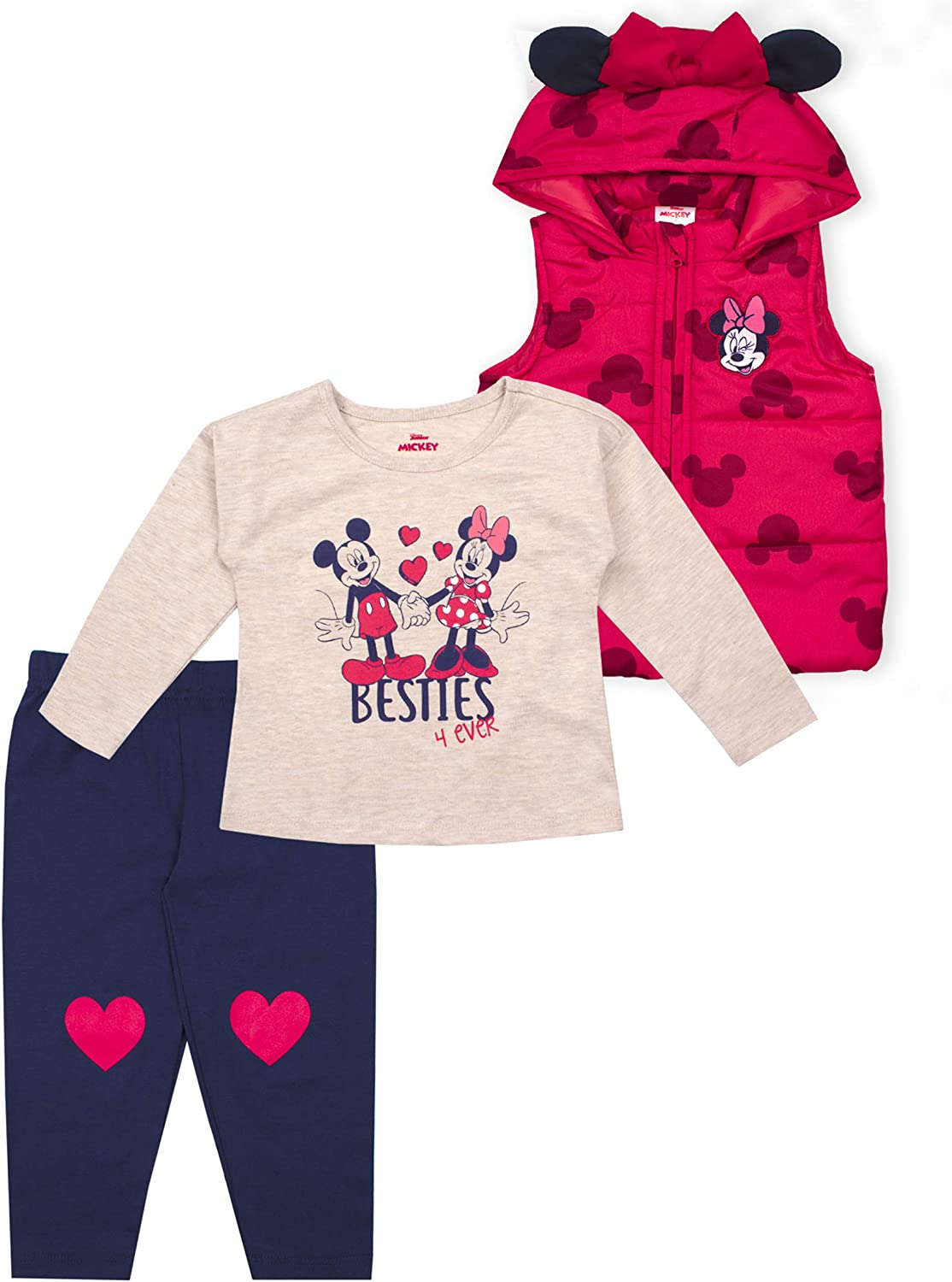 Disney 3-Piece Minnie Mouse Clothes for Girls and Toddlers, Shirt, Vest, and Pants