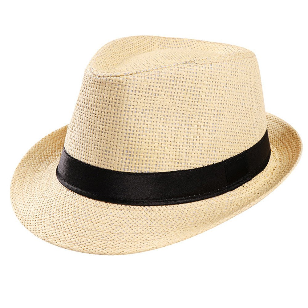 Cleanrance Unisex Hat Gangster Hat for Women and Men Unisex Gangster Cap Beach Sun Straw Hat Band Sunhat Beige