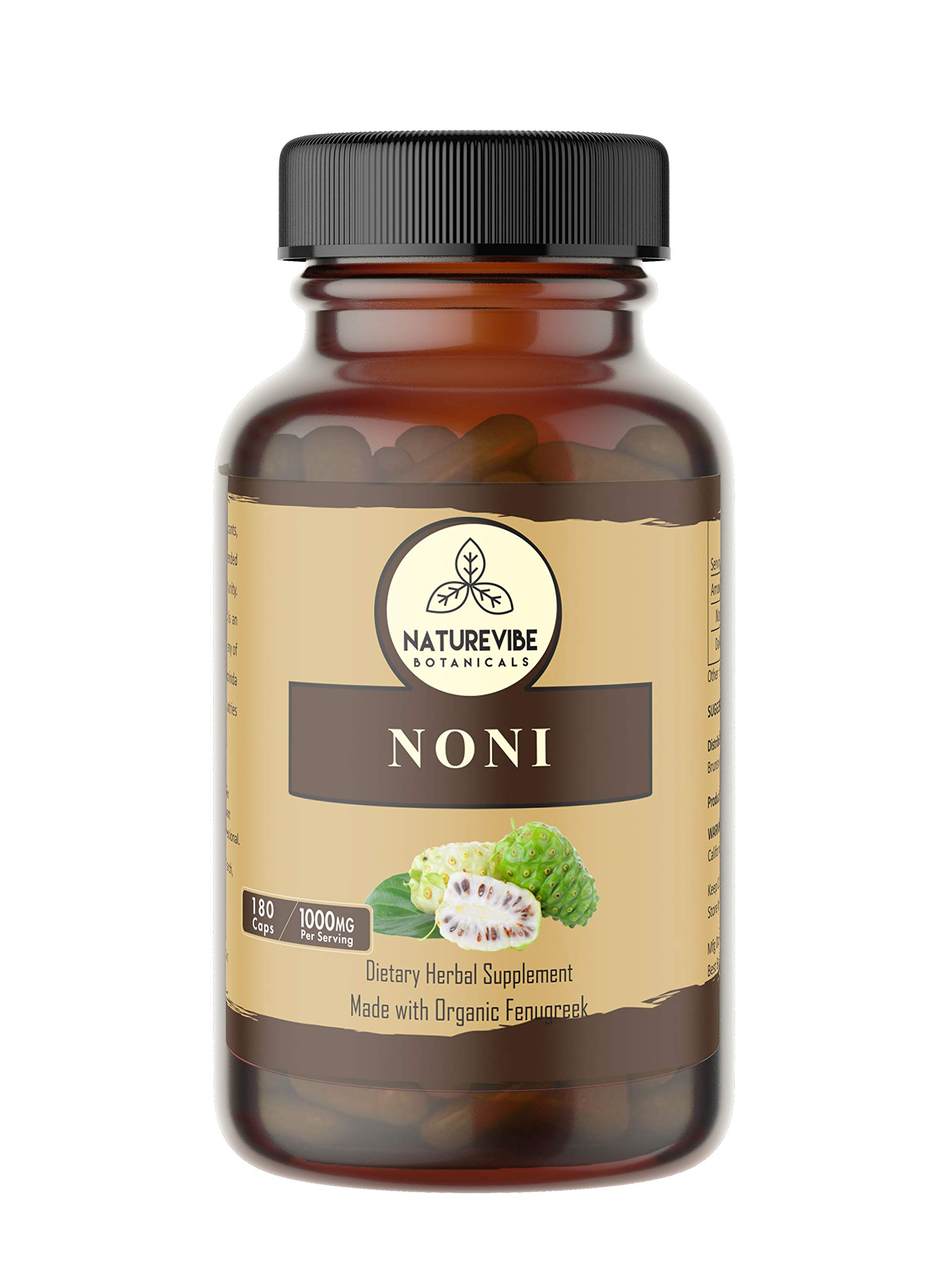 180 Capsules Organic Noni Fruit -100% Organic Noni Fruit Powder, 1000mg Per Serving | Veg Capsules by Naturevibe Botanicals (Image #1)