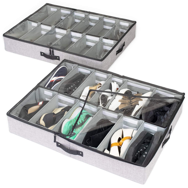 storageLAB Under Bed Shoe Storage Organizer, Adjustable Dividers - Set of 2, Fits 24 Pairs Total - Underbed Storage Solution by storageLAB