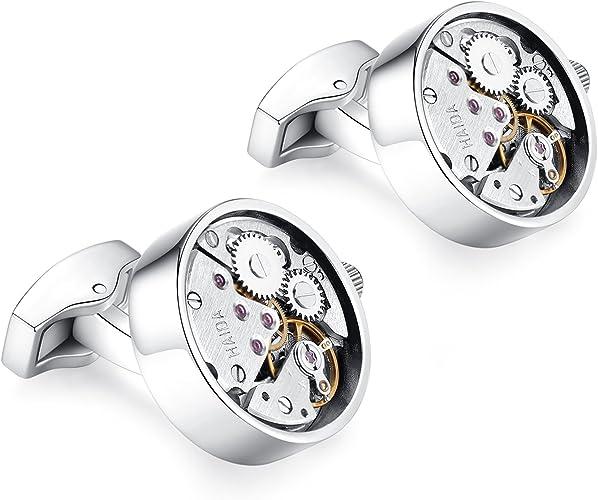 HONEY BEAR Gemelos Reloj relojería Mecanismo Steampunk de relojería para Hombre Camisa Redonda, Acero Inoxidable Regalo de Boda de Negocios con Caja