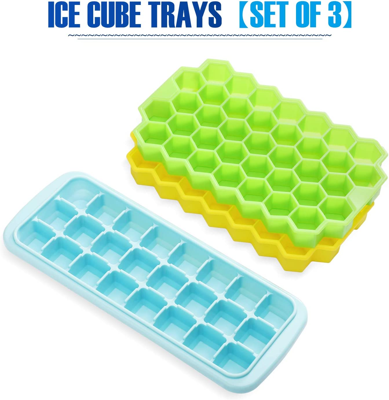 Glotoch Ice Cube Trays with Lid, 3Packs Food Grade Silicone Ice Cube Mold Flexible &Easy Release 98 Ice Mold for Whiskey