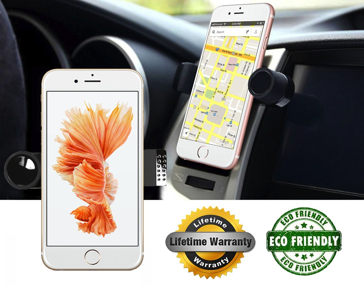 Luxury Car Phone Mount Fits All Vents 360 Rotation Works With Iphone 7 7 Plus.. 18