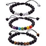 Ckysee 7 Chakra Lava Rock Bracelet Healing Balancing Genuine Leather Bracelets with Magnetic Clasp Tiger Eye Agate Howlite for Men