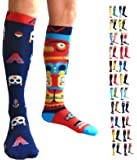 Compression Socks (1 Pair) by A-Swift - Mismatched, Fun, Unisex - Best for Athletic Sports, Crossfit, Flight Travel - Suits Nurses, Maternity Pregnancy - Below Knee High