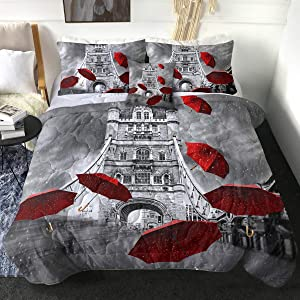 Sleepwish Paris City Eiffel Tower Comforter Set Red Umbrellas and Paris Eiffel Tower Print in Queen Size 4 Piece 3D Rainning Street Bedspread Black and White