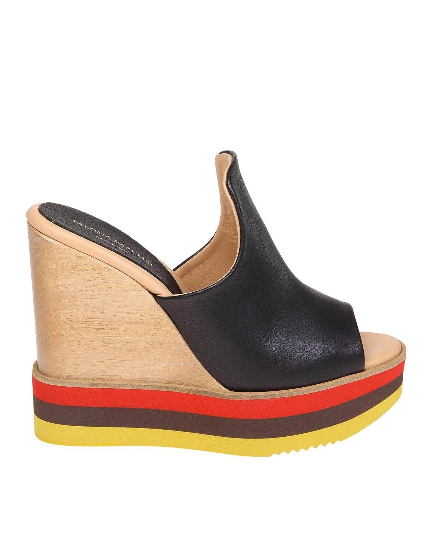 93c2a2a26b4 PALOMA BARCELÓ Femme AYUMIBLACK Noir Cuir Chaussures Compensées