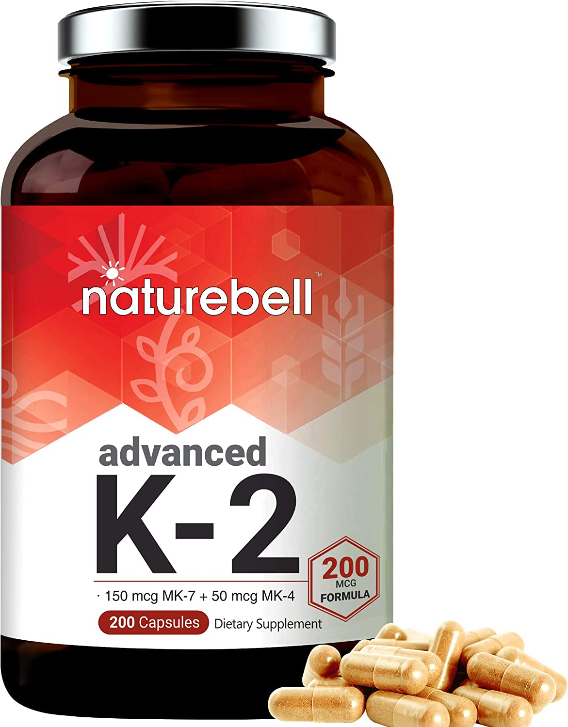 Advanced Vitamin K2 Supplement with MK-7 and MK-4, 200 mcg, 200 Capsules, Best Joint Health and Heart Health Supplement, Non-GMO and Made in USA
