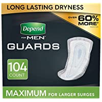 Depend Incontinence Guards for Men, Maximum Absorbency, 2 Packs of 52, 104 Total...