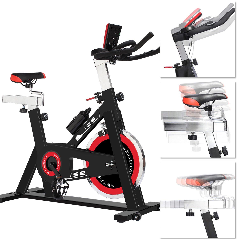 ISE Profi Indoor Cycle Ergometer Heimtrainer Hometrainer mit Magnetbremssystem,18 kg Schwungmasse,LCD-Monitor,Pulsmesser,Fitness-Bike mit Transportrollen&Flaschenhalter (inkl. Trinkflasche)