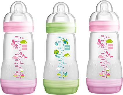 MAM Self Sterilising Anti-Colic Bottle 260 ml 3 Pack Pink//Green with Medium Flow