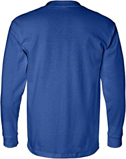 product image for Bayside Apparel mens Long-Sleeve Tee with Pocket (BA8100) ROYAL BLUE