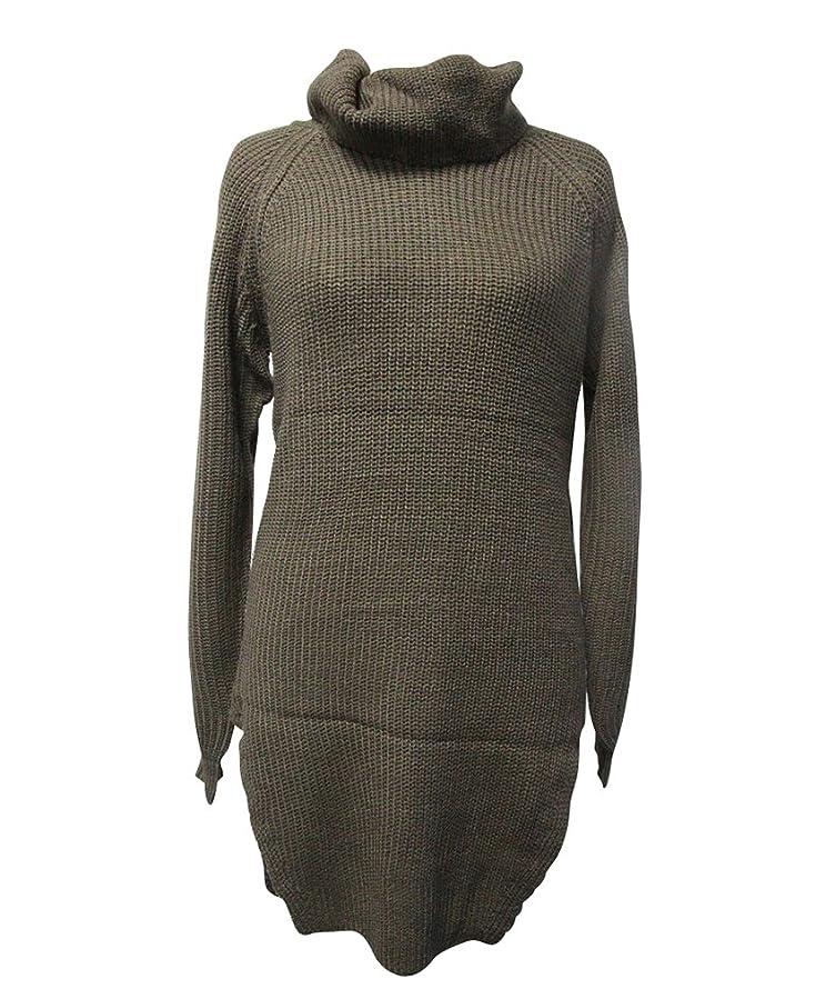 d2b168543f91 Shoppen Sie YOUJIA Damen Strickpullover Langarm Teilt Strickpulli Pullover  Rollkragen-Strickkleid auf Amazon.de Pullover