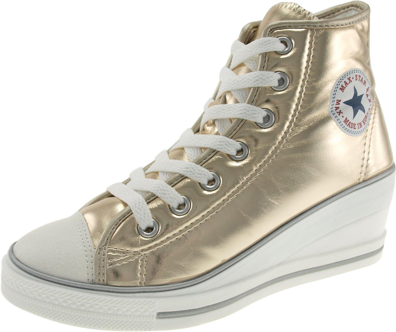 Maxstar Women's 7H Zipper Low Wedge Heel Sneakers B00COWNNT2 7 B(M) US|Pu-gold