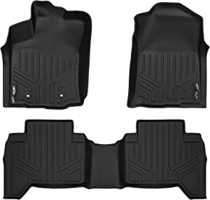 MAXLINER Floor Mats 2 Row Liner Set Black for 2016-2017 Toyota Tacoma Double Cab