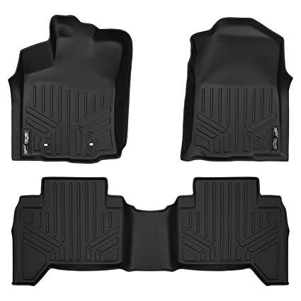Smartliner Floor Mats 2 Row Liner Set Black For 2016 2017 Toyota Tacoma Double Cab