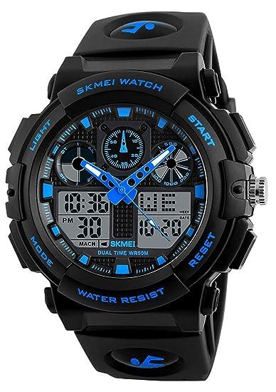 Reloj digital para hombre Shock para deportes al aire libre LED con pantalla de tiempo dual
