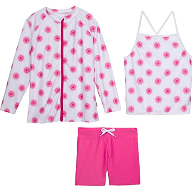 54160f2d Amazon.com: SwimZip Girls Long Sleeve Rash Guard Swim Shorts Set with UPF 50+:  Clothing