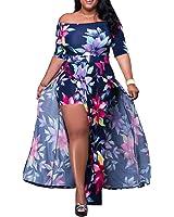 59ca888d801 Akmipoem Women s Off Shoulder Floral Print High Split Beach Maxi Dress  Jumpsuit Romper
