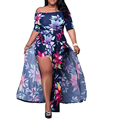 7e34978e30e Akmipoem Women s Off Shoulder Floral Print High Split Beach Maxi Dress  Jumpsuit Romper Dark Blue