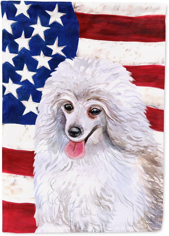 Caroline's Treasures BB9683GF Medium White Poodle Patriotic Flag Garden Size, Small, Multicolor