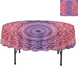 """Tablecloth, Vintage Art in Print Ombre Myriad Realms Icon Geometry, Round Premium Tablecloth for Wedding/Banquet/Restaurant, Round 54"""", Violet Hot Pink"""
