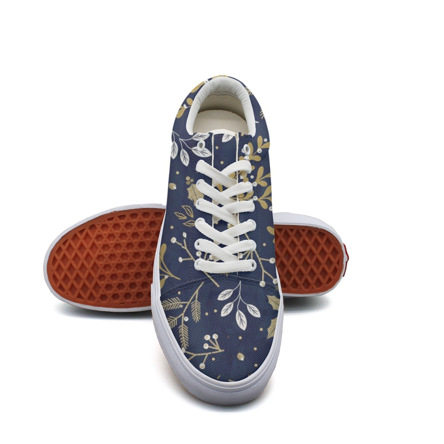 Ouxioaz Womens Skateboarding Shoes Flower Leaf Tree Lace-up Running Shoes