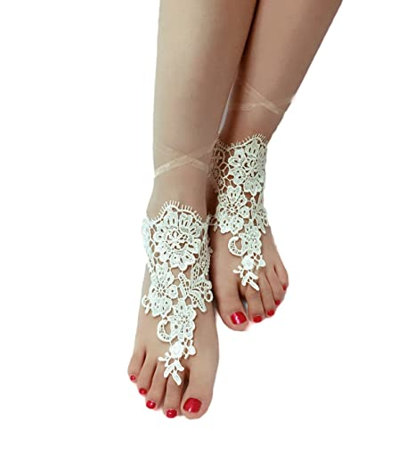6df9921459d3 Color  ASA Bridal Summer Crochet Barefoot Sandal Lace Anklets Wedding Prom  Party Bangle (Champagne Lace)