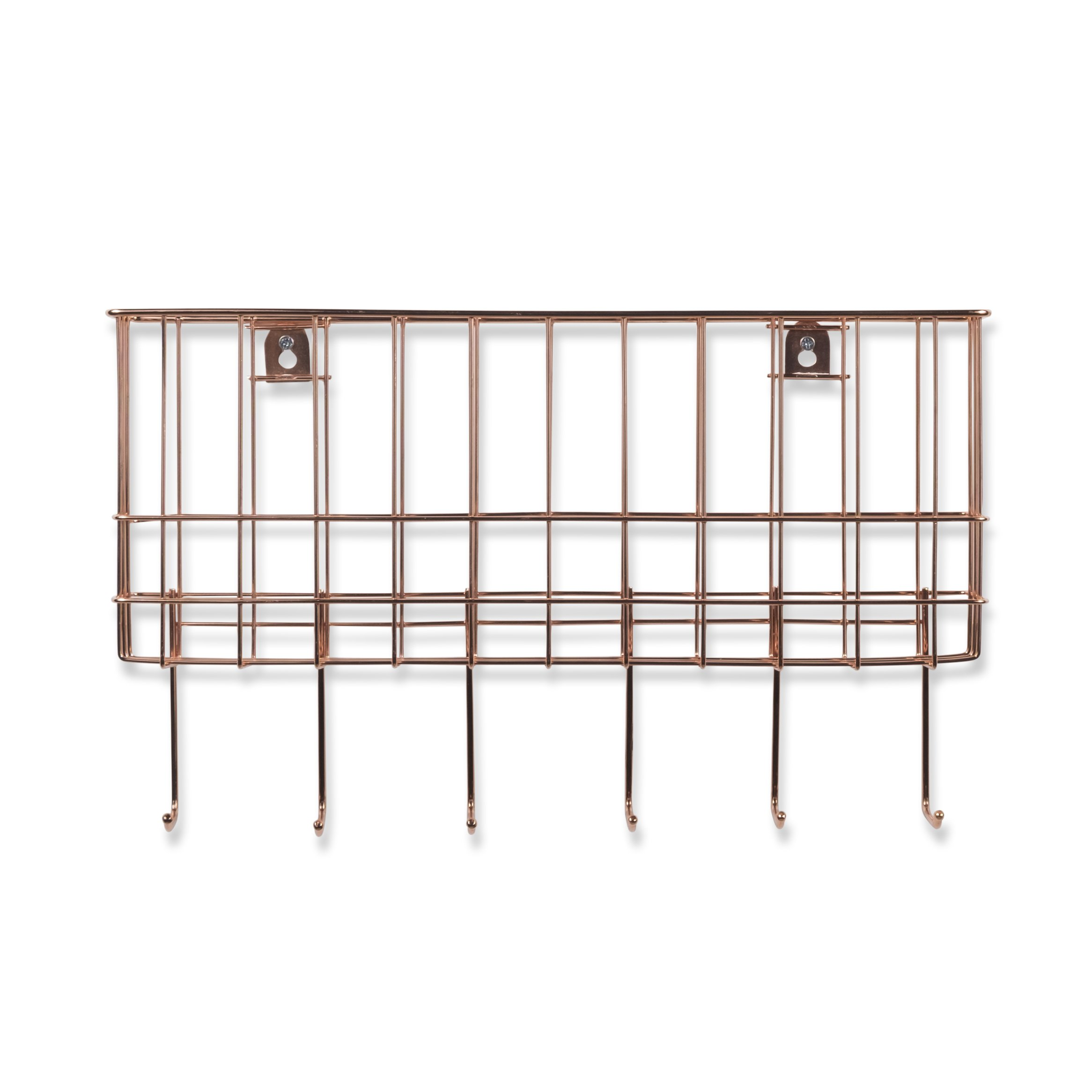 WALL35 Sicily Unique Metal Wire Basket - Wall Mounted Entryway Organizer - Key Holder - Coat Rack with Hooks - Mail and Magazine Holder (Copper) by Wall35 (Image #6)