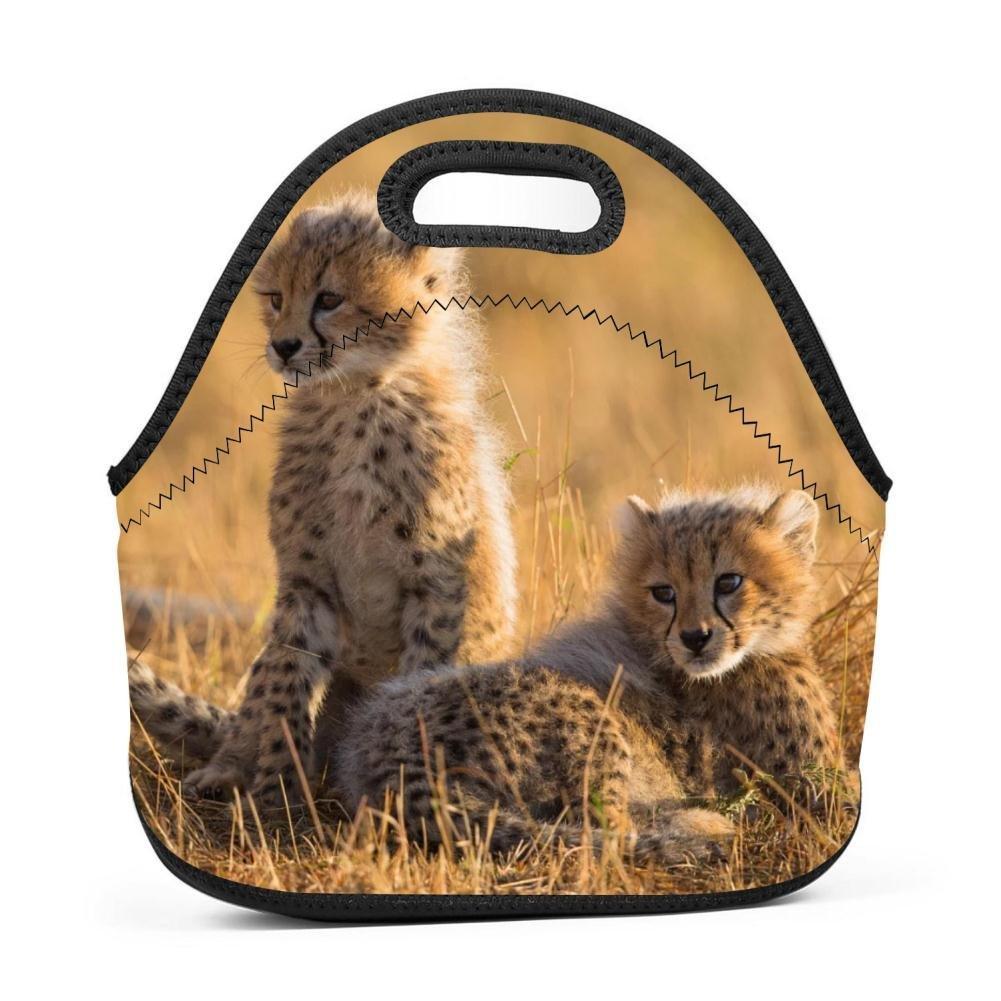 tolbert wisfins Neoprene Lunch Bag Tote Bag Cute Baby Cheetah Waterproof Lunch Box For Outdoor Travel Picnic