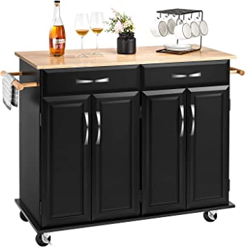 kealive Kitchen Island on Wheels Rolling Kitchen Island with Storage,  Handle Rack Rubber Wood Top Cabinet, Classic Black 48.2L x 18.5W x 35.4H