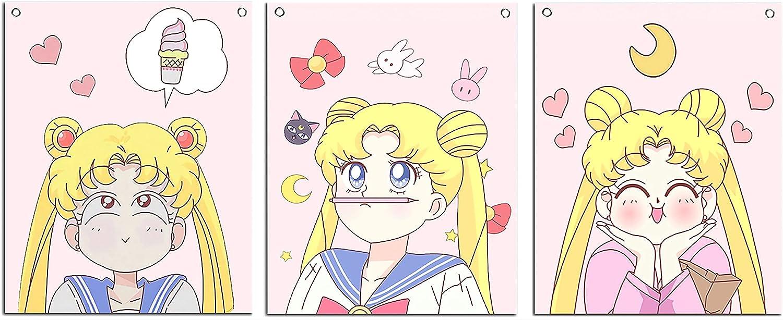 Wall Art Prints Sailor Moon Poster Set of 3 Canvas Cartoon Picture(12x16