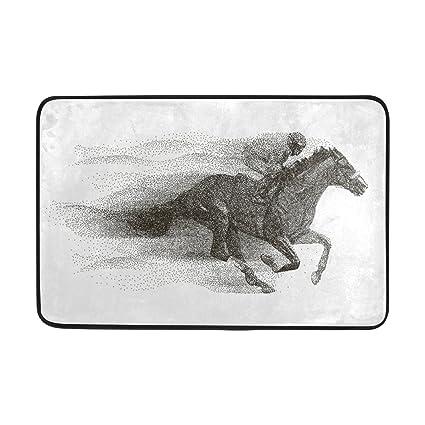 Naanle Entrance Doormat Jockey On Horse Hippodrome Jump Racing Racetrack Indoor Outdoor Decor Rug