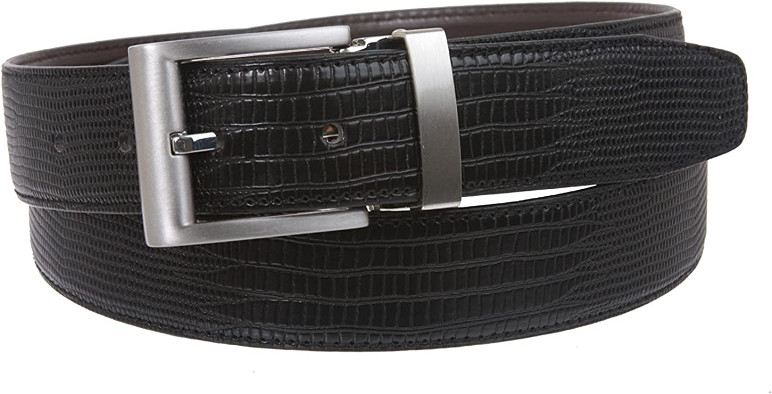 MONIQUE Men One Size Fits All Snake Print Patent Faux Leather Clamp On 32mm Belt