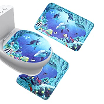 Jillban Flannel Seaworld Bathroom Mat Set 3 Piece Contour Rug Lid Toilet  Cover