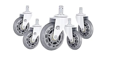 Rollerblade Style w//Universal Fit LPHY Office Chair Caster Wheels Perfect Replacement for Desk Floor Mat Heavy Duty /& Safe for All Floors 3 Replacement Rubber Casters