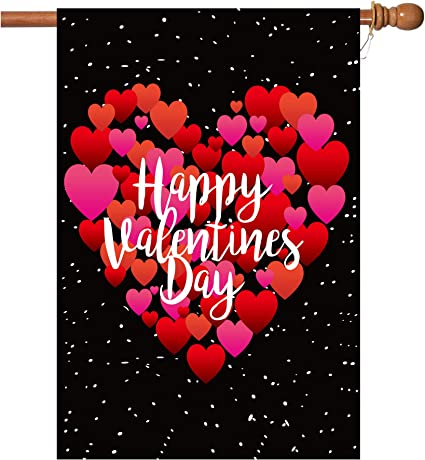 Amazon Com Valentine S Day Flag 28x40 Inch Valentine S Heart Garden Flag With Two Grommets Double Sided Printing 2 Layer Burlap Valentine Flags For Your Valentine S Day Decoration Garden Outdoor