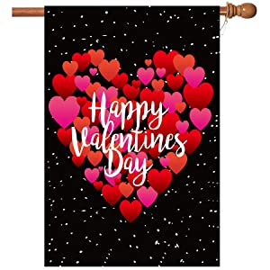 BOUTIQUE_GOODS Valentine's Day Flag,28x40 Inch Valentine's Heart Garden Flag with Two Grommets Double Sided Printing 2 Layer Burlap Valentine Flags for Your Valentine's Day Decoration