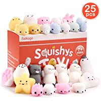 Satkago 25 Pcs Mini Mochi Squishies, Kawaii Stress Reliever Toys Party Favors Classroom Exchange for Kids Boys Girls