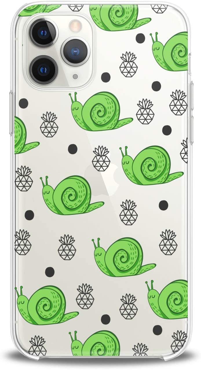 Lex Altern Case Compatible with iPhone 12 Mini 5G 11 Pro Xs Max Xr 8 X 7 Plus 6 SE 5 Green Soft Snail Pattern Cover Child Adorable Gentle Clear Modern Smooth Print Design Slim fit Lightweight Nature