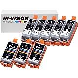HI-VISION Compatible PGI-35+CLI-36 Pigment Compatible (5-PACK)Black & (3-PACK)Tri Color Ink Cartridge Replacement for Pixma iP100