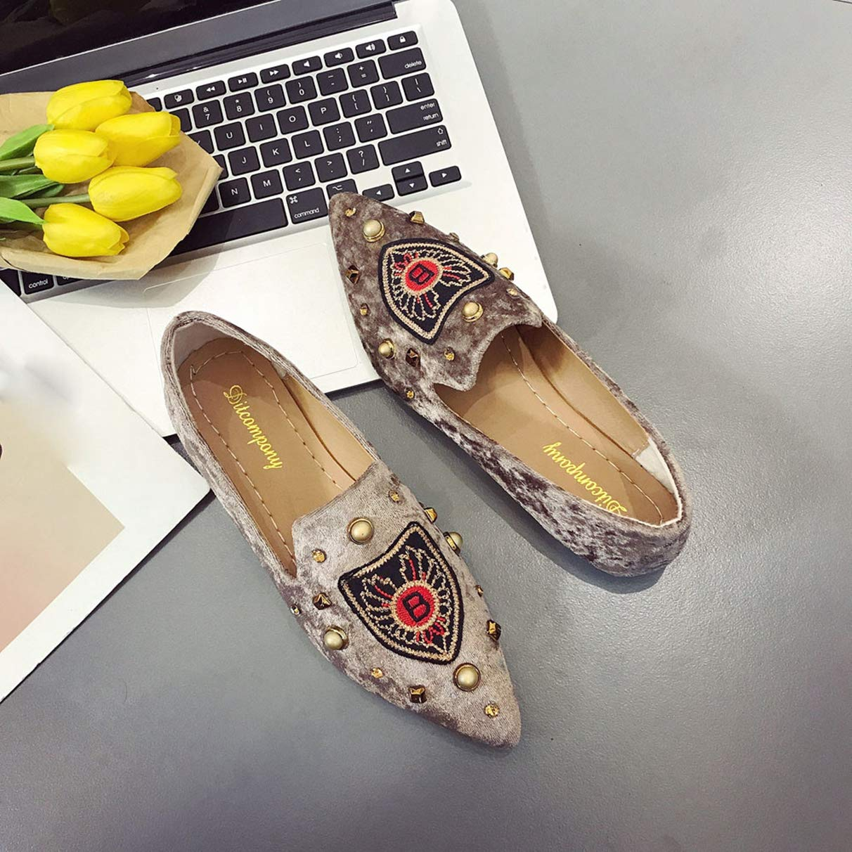 Owen Moll Women Flats Casual Slip-On Pointed Toe Embroidery Loafer Shoes