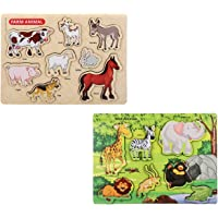Knack Wooden Educational Puzzles for Kids (Farm Animals & Wild Animals)