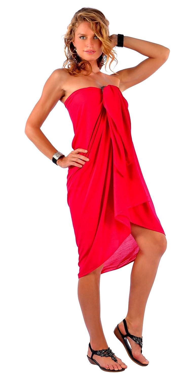 ff7b840c018c 1 World Sarongs Donna Pareo Copricostume Senza Frange Tinta Unita Rosso  SARONG-KD-SOLID-FL-RED Donna