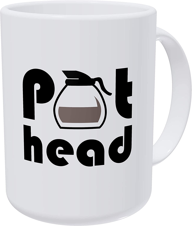 Willcallyou Pot Head 15 Ounces Double Side Printed Funny White Coffee Mug