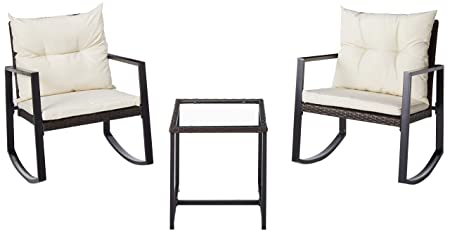 Leisure Zone Outdoor Patio 3 Pcs Wicker Rocking Bistro Set Porch Deck Rockers with Coffee Table Beige Cushion
