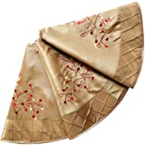 SORRENTO Deluxe Embroidered berry with Handcraft Pintuck Border,Extra Large gold Mini Christmas Tree Skirt-90cm