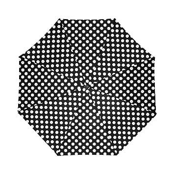 Negro y lunares blancos automático paraguas poliéster Pongee paraguas