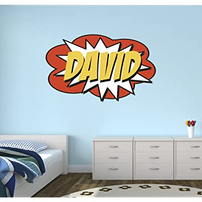 "Custom Comic Name Wall Decal Superheroes Nursery Baby Room Mural Art Decor Vinyl Sticker LD08 (38""W x 24""H): Home & Kitchen"